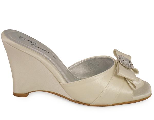 Ivory Wedding Wedge Heels: LADIES IVORY SATIN WEDGE BRIDAL BRIDESMAID SHOES SZ 3-8
