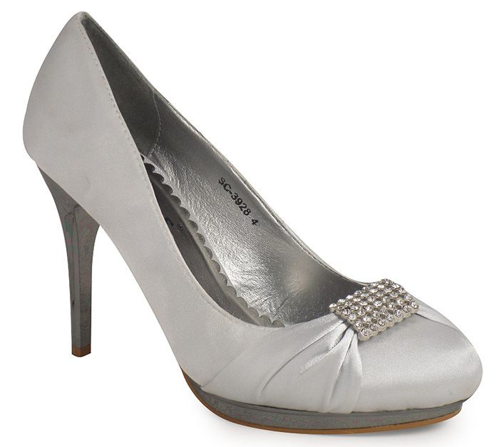 Silver Bridesmaid Satin Wide Fit Shoes
